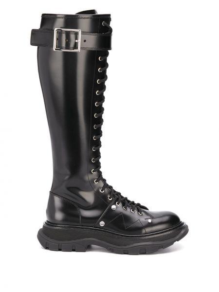 Черные кожаные сапоги на шнуровке Alexander Mcqueen