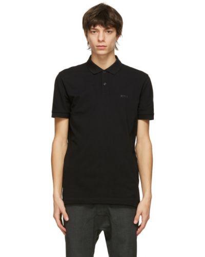 Czarny z rękawami koszulka polo z kołnierzem Boss