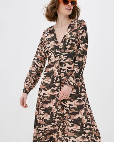 Коричневое прямое платье Please