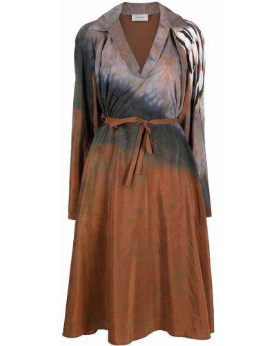 Платье макси с длинными рукавами - коричневое Lemaire
