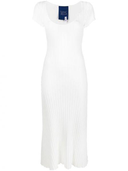 Biały z rękawami sukienka mini Simon Miller