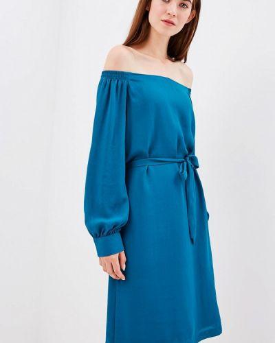 Бирюзовое платье с открытыми плечами S.oliver