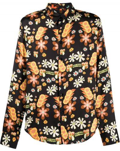 Czarna koszula w kwiaty z długimi rękawami Garçons Infideles