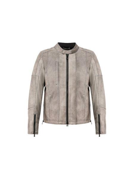 С рукавами серая кожаная кожаная куртка с воротником Harley Davidson