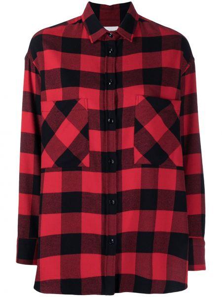 Красная с рукавами классическая рубашка в клетку Woolrich