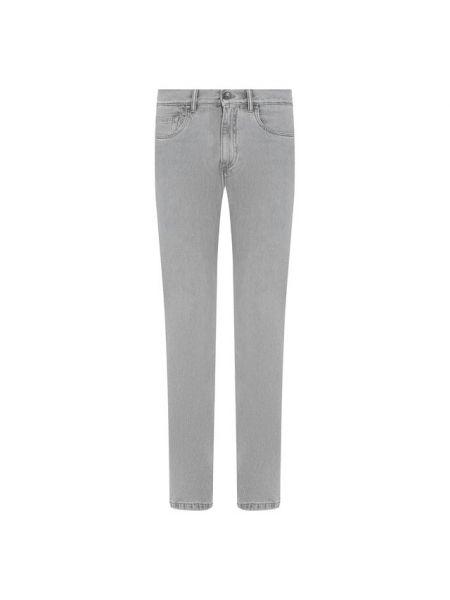 Хлопковые серые деловые прямые джинсы с жемчугом Ermenegildo Zegna