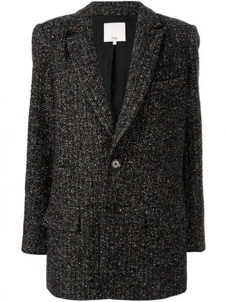 Длинная куртка черная на пуговицах Tibi