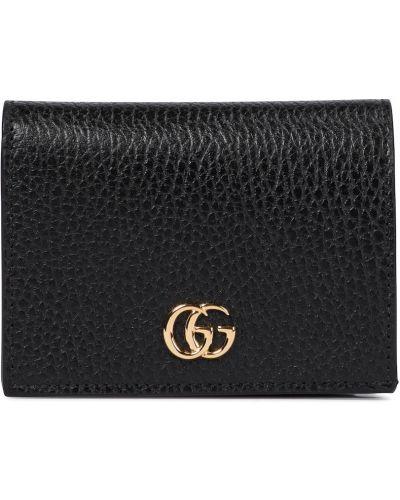 Czarny skórzany portfel Gucci