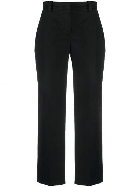 Хлопковые черные свободные брюки свободного кроя с высокой посадкой Pt01