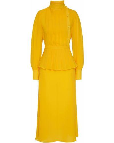Приталенное желтое шелковое платье миди Alessandra Rich