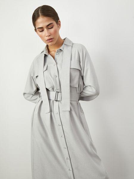 Платье с поясом платье-рубашка с воротником 12storeez