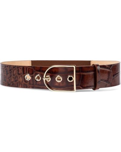 Коричневый кожаный ремень с поясом Max Mara