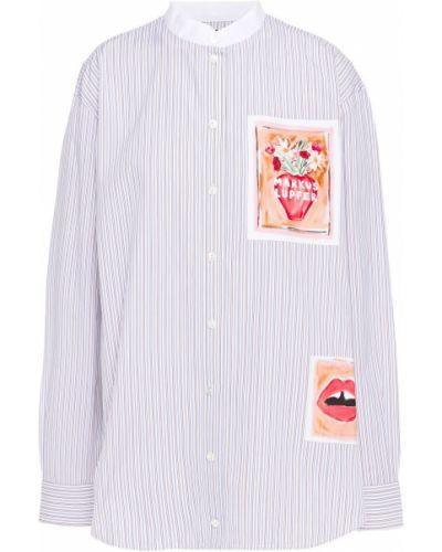 Biała koszula bawełniana w paski Markus Lupfer