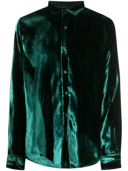 Zielona klasyczna koszula z długimi rękawami skórzana Ami