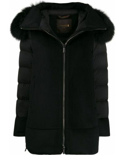 Нейлоновое черное длинное пальто Moorer