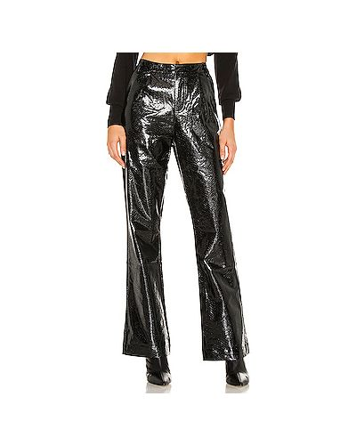 Черные кожаные брюки с карманами Kendall + Kylie