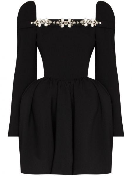 Czarna sukienka długa rozkloszowana z długimi rękawami Shushu/tong