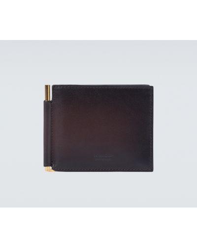 Brązowy klasyczny portfel skórzany z prawdziwej skóry z gniazdem Tom Ford