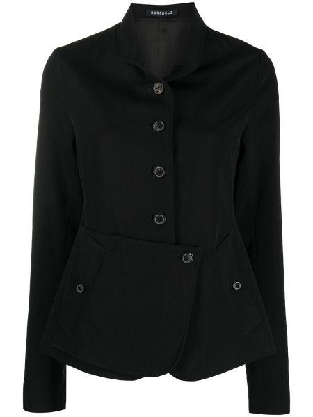 Шерстяной черный удлиненный пиджак с воротником Rundholz