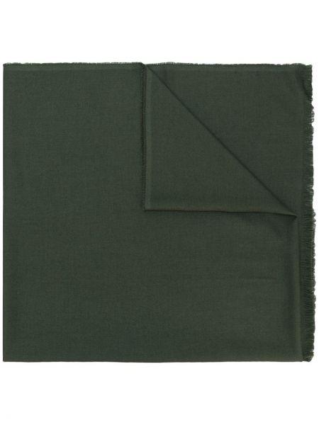 Зеленый шерстяной шарф с опушкой Tom Ford