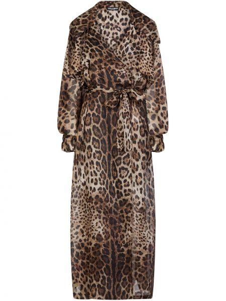 Черное длинное пальто с воротником двубортное Dolce & Gabbana