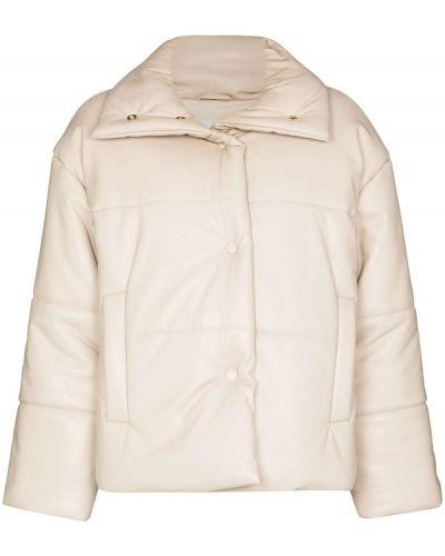 Белая кожаная дутая куртка Nanushka
