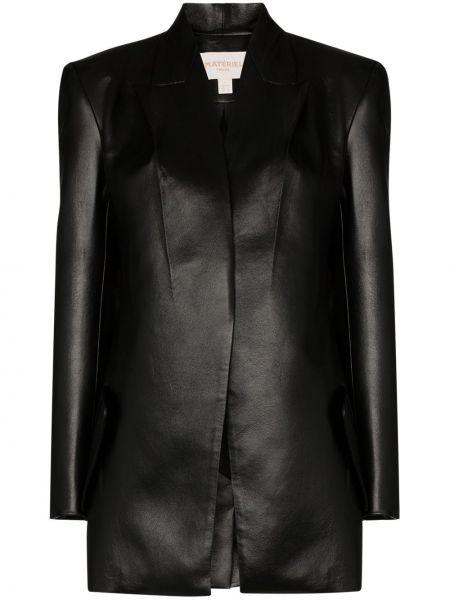 Черный кожаный пиджак на пуговицах Matériel