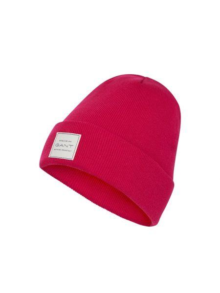 Prążkowana różowa czapka bawełniana Gant