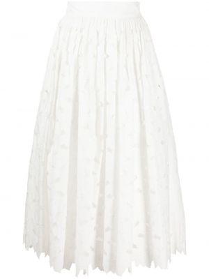 Хлопковая с завышенной талией белая юбка миди Red Valentino