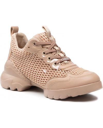 Buty sportowe skorzane - różowe Carinii