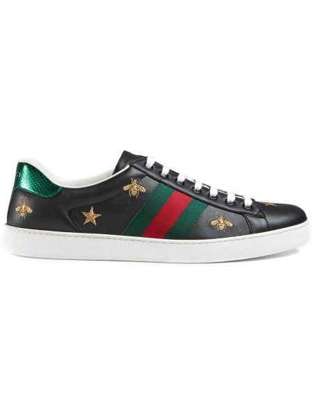 Klasyczny skórzany czarny skórzane sneakersy na pięcie Gucci