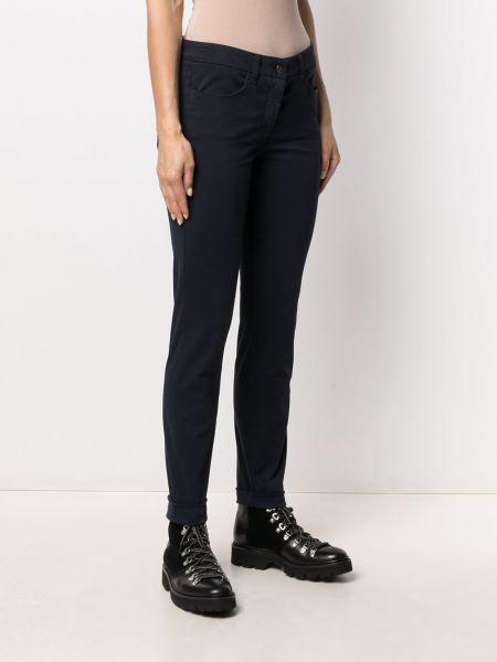 Прямые хлопковые синие укороченные брюки Luisa Cerano