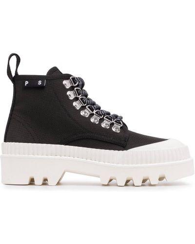 Ażurowe czarne ankle boots sznurowane Proenza Schouler