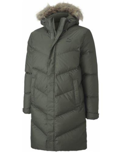 Брендовая зеленая пуховая длинная куртка Puma