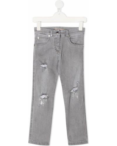 Классические прямые серые прямые джинсы стрейч Ermanno Scervino Junior