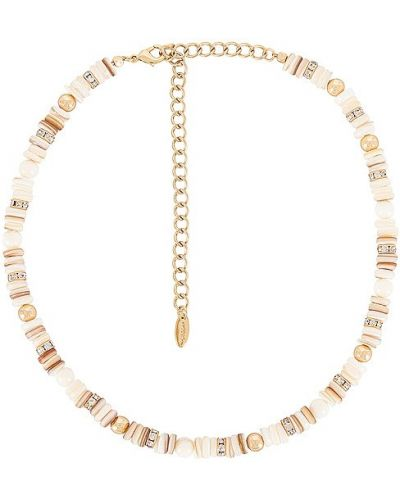 Ожерелье с жемчугом золотое металлическое Ettika