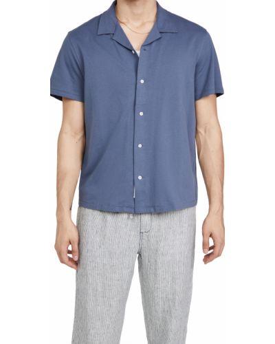 Niebieska koszula bawełniana krótki rękaw Rag & Bone
