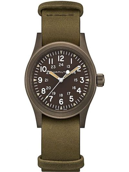 Zegarek na skórzanym pasku skórzany - szary Hamilton Watch