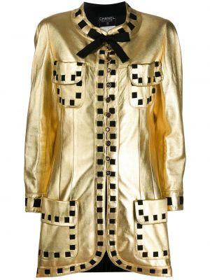 Желтая кожаная куртка винтажная Chanel Pre-owned