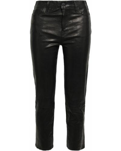 Черные кожаные укороченные брюки стрейч J Brand