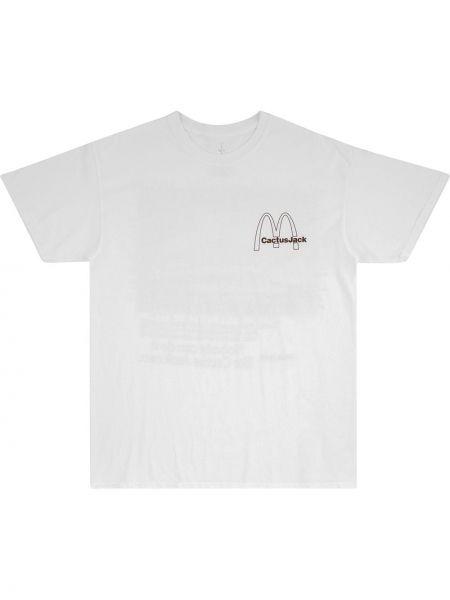 Biały t-shirt bawełniany krótki rękaw Travis Scott Astroworld