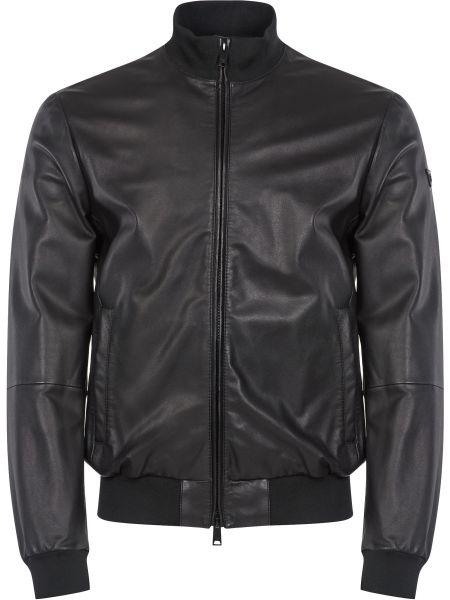 Кожаная куртка на молнии - черная Emporio Armani
