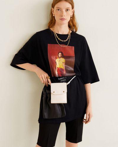 Koszula czarny z dekoltem Mango