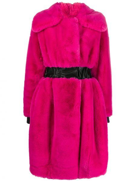 Różowy płaszcz z paskiem z długimi rękawami Karl Lagerfeld