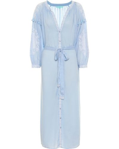 Синий кафтан с вышивкой Melissa Odabash