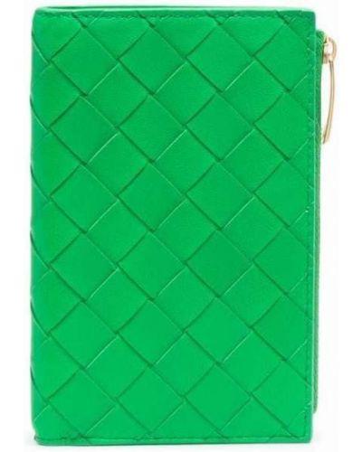Zielony złoty portfel Bottega Veneta