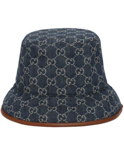Niebieski kapelusz skórzany Gucci
