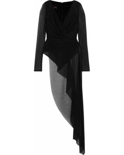 Текстильное черное боди на крючках Talbot Runhof