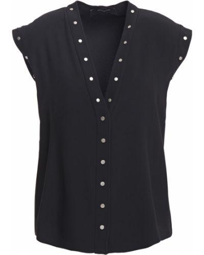 Ażurowa czarna bluzka z wiskozy Cedric Charlier