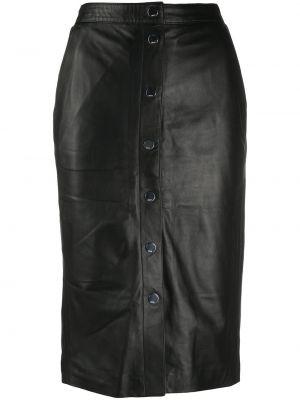 Прямая черная кожаная юбка миди Karl Lagerfeld